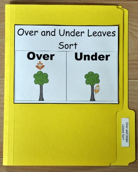 "File Folder Game--""Fall Leaves:  Over and Under Sort"""