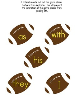 File Folder Game Football (Fry Sight Words 11-20)