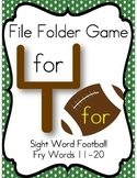 File Folder Game Football (Fry Sight Words 11-20)