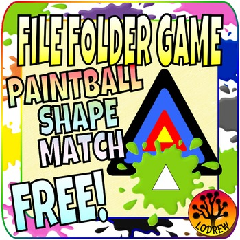 File Folder Game Free Shapes Paintball Math Center Kinderg