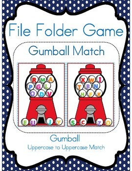 File Folder Game (Gumball Match Uppercase to Uppercase)