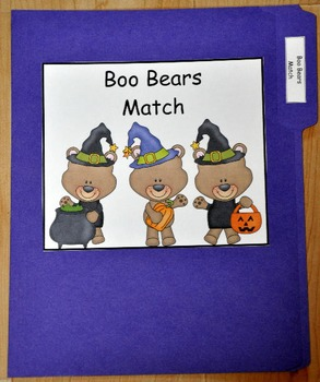 "File Folder Game: Halloween ""Boo Bears"" Match"