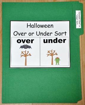 """File Folder Game:  Halloween """"Over/Under"""" Sort"""
