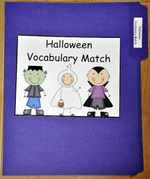 File Folder Game:  Halloween Vocabulary Match