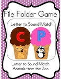 File Folder Game (Letter to Sound Match, Zoo Animals)