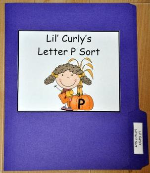 File Folder Game:  Lil' Curly's Pumpkin P's Sort