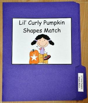 File Folder Game:  Lil' Curly's Pumpkin Shape Match