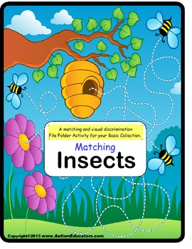 File Folder Game MATCHING INSECTS {Special Education, Pre-K, Kindergarten}