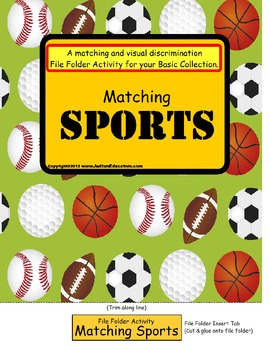 File Folder Game MATCHING SPORTS {Special Education, Pre-K, Kindergarten}