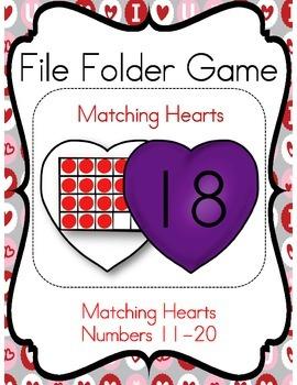 File Folder Game (Matching Hearts Twenty Frame 11-20)