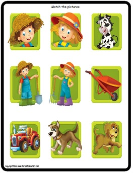 File Folder Game Matching at the Farm {Pre-K, Kindergarten, Special Education}