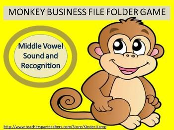Literacy Center  File Folder Game Middle Vowels Sound & Recognition
