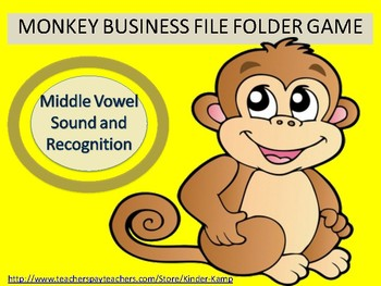 Literacy Center  File Folder Game Middle Vowels Sound & Recognition