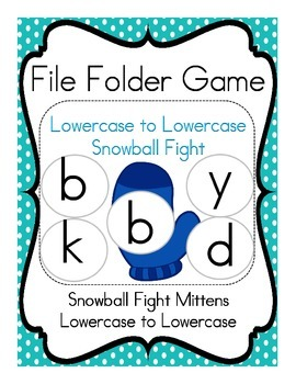 File Folder Game (Mitten Snowball Fight) Lowercase Letters