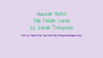 File Folder Game- Number Match (FREE!!!)
