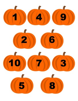 File Folder Game: Pumpkin Number Matching