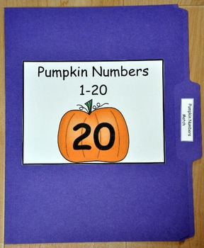 File Folder Game:  Pumpkin Numbers Match