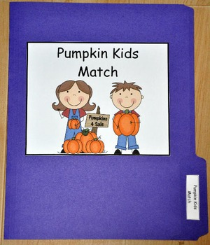 File Folder Game:  Pumpkin Patch Kids Match