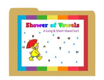 File Folder Game - Shower of Vowels