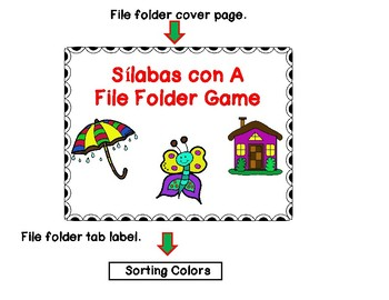 File Folder Game:  Silabas con A Sorting Game