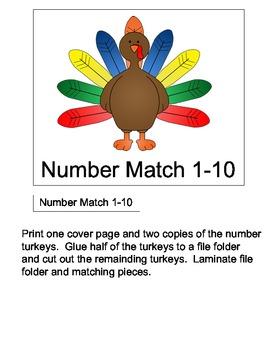 File Folder Game: Turkey Number Matching