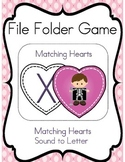 File Folder Game (Valentine's Day Heart Match Letter Sounds)