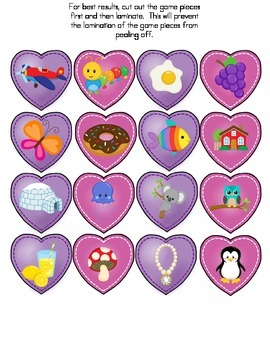 File Folder Game (Valentine's Day Heart Match Letter Sounds)