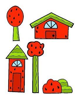 File Folder Game--Watermelon Town