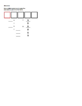 File Folder Game - Ways to Make 5 Addition