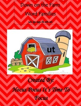File Folder Game--Word Families: Down on the Farm (at, et,