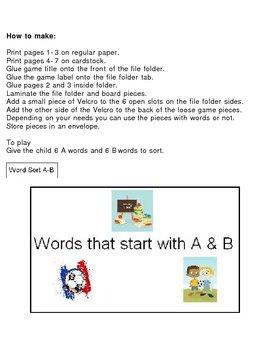 File Folder Game Word Sort A-B