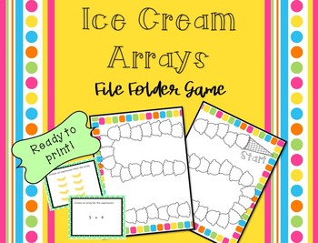 File Folder Games! Ice Cream Arrays - Ready to Print Math Center!