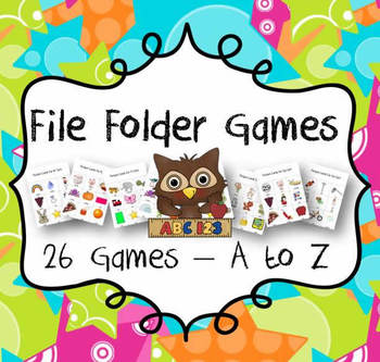 File Folder Games: Initial Sounds from A to Z - 26 Games