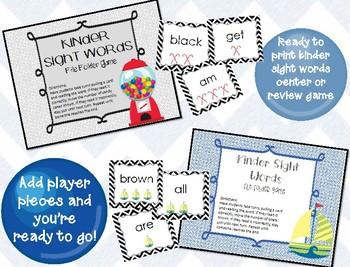File Folder Games! Kinder Sight Words {2 games included}