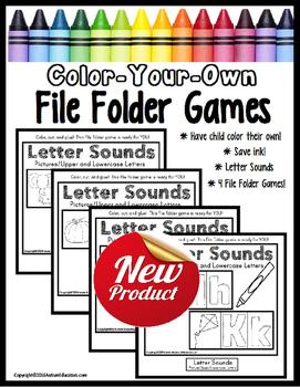 File Folder Games LETTER SOUNDS Color Your Own