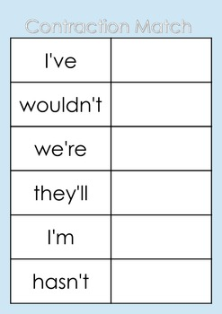 FREE File Folder Games / Memory - Autism, SEN, Matching, Contractions