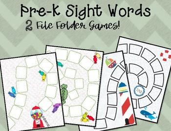 File Folder Games! Pre-K Sight Words {2 games included}