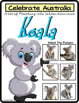 File Folder Games Set KOALA BEAR Matching Skills to CELEBRATE AUSTRALIA