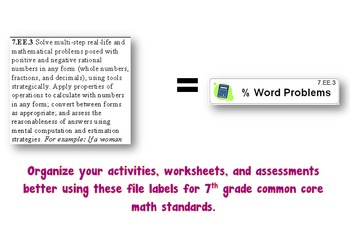 File Folder Labels for 7th Grade Math Common Core Standards
