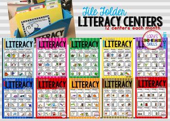 File Folder Literacy Centers- ALL  YEAR