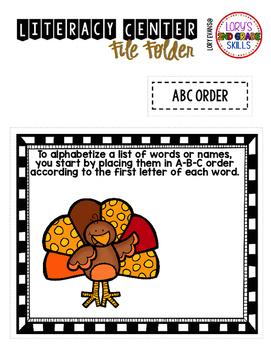 File Folder Literacy Centers- November