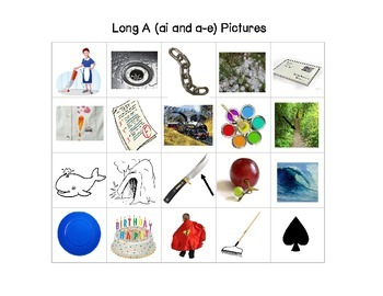 File Folder: Long A Picture and Word Sorts