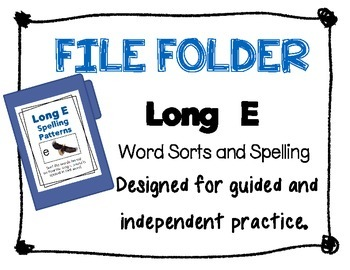 File Folder: Long E Picture and Word Sorts
