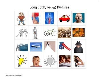 File Folder: Long I Picture and Word Sorts