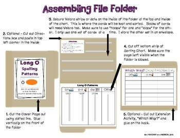 File Folder: Long O Picture and Word Sorts
