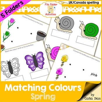 File Folder - Matching Colors - Spring - UK Spelling