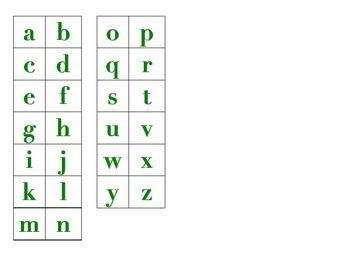 File Folder Matching Lowercase Letters (Green)