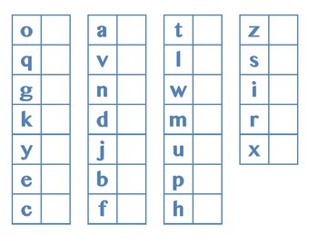 File Folder Matching Lowercase Letters (Light Blue)