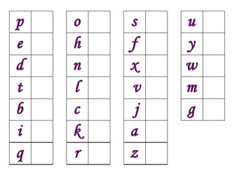 File Folder Matching Lowercase Letters (Purple)