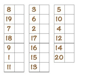 File Folder Matching Numerals 1-20 (Brown)